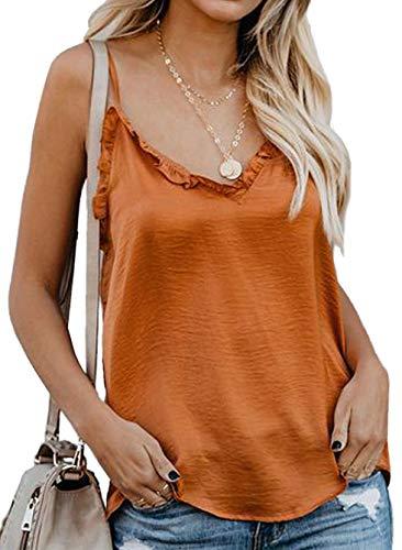 Cami Tank Top Women Sleeveless Adjustable Strap Loose Blouse Ruffle V Neck Camisole Shirts Plus Size Orange XXL
