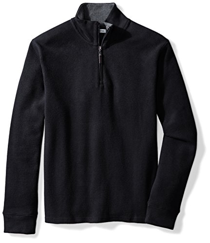 Men Pullover (Amazon Essentials Men's Quarter-Zip French Rib Sweater, Black, Large)