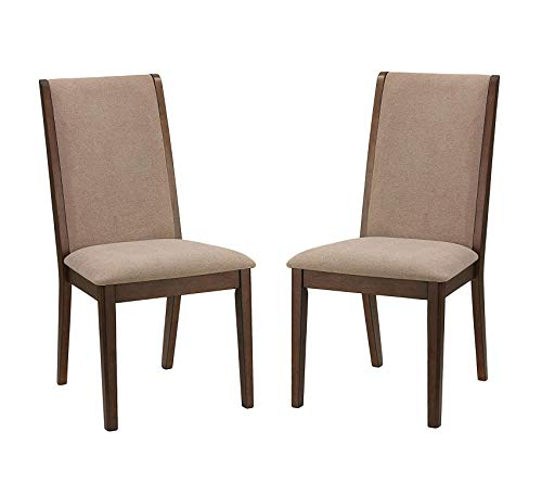 Wood & Style Furniture Kendall Dining Side Chairs in Walnut Color Set of 2 Truffle Taupe Fabric Home Office Commerial Heavy Duty Strong Décor