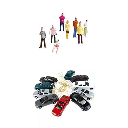 - Dolity Set 110pcs People & Auto Models w/ Lights Sand Table Accessories HO N Scale