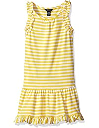 Girls' Drop Waist Stripe Dress With Ruffle Details