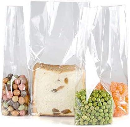 Color Queen Bolsa de Embalaje de Regalo Almacenamiento de Alimentos de Celofán Transparente,Size L 7.5, W 5, H 25 cm, 10 Unidades, Parte Inferior Cuadrada …