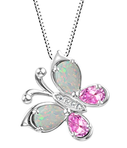 Sterling Silver Created Opal and Created Pink Sapphire Butterfly Pendant (Butterfly Pink Sapphire Pendant)
