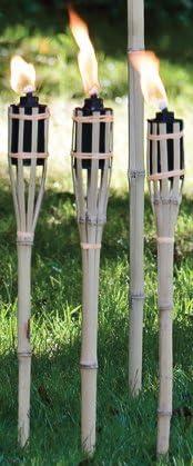 antorchas de jardín, bambú antorcha, con recipiente de petróleo (150ml) y mecha de combustión, aprox. 4 – 5std., altura: 60 cm, incluye 10 x repuesto mechas, incluye 1L Petrolium: Amazon.es: Jardín