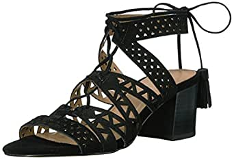 The Fix Women's Bonilla Block Heel Cutout Tribal Dress Sandal, Black, 6 B US
