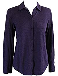 Lauren Ralph Lauren Womens Notch-Collar Roll-Tab-Sleeve Nightshirt (X-Small, Purple Heather)