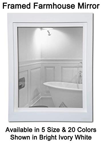 Farmhouse Large Framed Mirror Available in 5 Sizes and 20 Colors: Shown in Bright Ivory White - Rustic Bathroom Decor - Vanity Mirror - Mirror on Wall - Shabby Chic Wall Decor (Satin White Mirror)