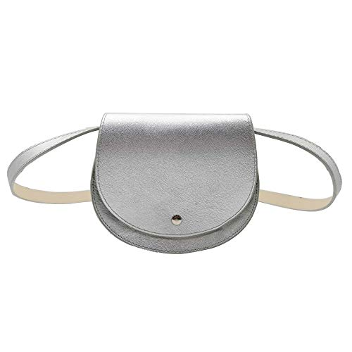 FannyPack Waist Pack Pouch for Women Small Purse Leather Belt Fanny Bag With Removable Belt (Silver #1)
