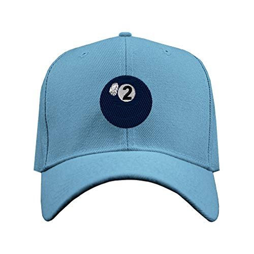 (Baseball Hat Billards Pool Solids Ball 2 Embroidery Club Acrylic Structured Cap Hook & Loop - Light Blue, Design Only)