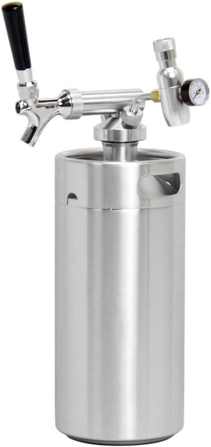 SupYaque Pressurized Beer Mini Keg Growler Tap System for Portable Beer Dispenser with Stainless Steel Mini Keg Regulator Keeps Carbonation and Craft,Draft Beer Dispenser (128 oz)