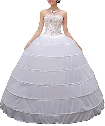 (MISSVEIL Women Crinoline Petticoat Hoop Skirt Slips Long Underskirt for Wedding Dress Ball Gown White)