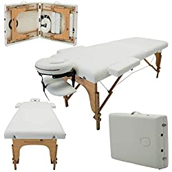Massage Imperial Charbury Ivory White 2-Section Portable Massage Table Couch Bed Spa