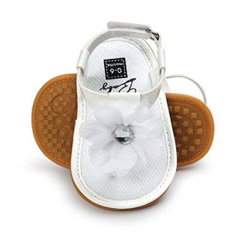 Covermason Baby Blumenperle Sandalen Schuhe Kleinkindschuhe Weiß