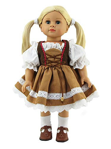 Brown Traditional German Dress  18 Inch Doll Clothes