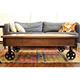 Timbergirl Reclaimed Wood Industrial Cart Wheels Coffee Table (India) Timbergirl Reclaimed Wood Industrial Cart Wheels Coffee Table (India)