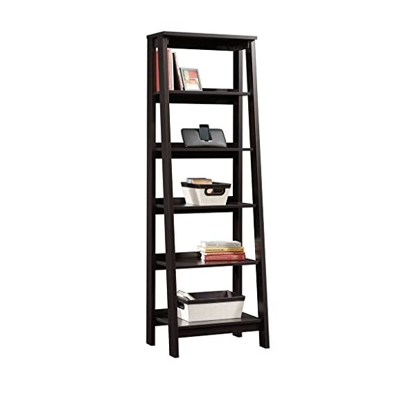 Sauder Trestle 5 Shelf Bookcase, Jamocha Wood finish - Open storage holds books, photos, collectibles, and more. Finished on all sides for versatile placement. Jamocha Wood finish. - living-room-furniture, living-room, bookcases-bookshelves - 41nOV6NQ1QL. SS570  -
