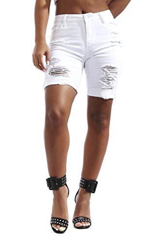 Womens Stretch Twill Bermuda - Soho BABE Junior's Heavy Rip Off Stretch Twill Bermuda Shorts-White-3