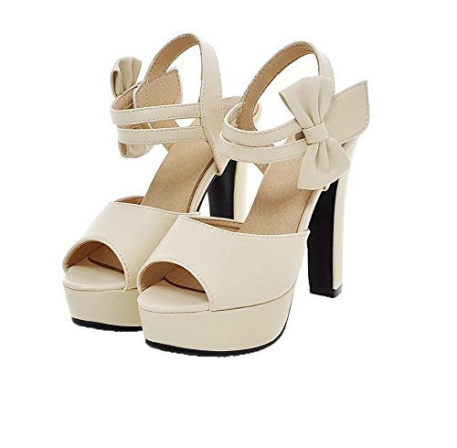 GMMLB008574 Tacco 40 PU Sandali Donna Alto Puro Sbirciare Velcro AgooLar Beige qAn8wEITv
