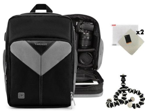 Sparta Travel Nylon Backpack Bag (Black, Gray) for Panasonic Lumix FZ47, Lumix FZ70 DSLR Camera and Screen Protector and Mini Tripod