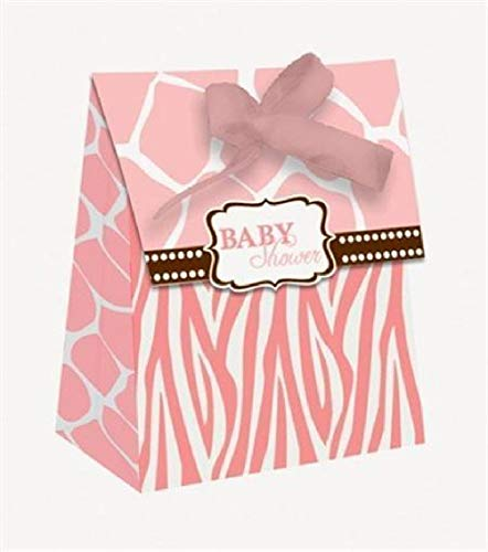 hersrfv home Baby Shower Favor Bags Wild Safari Pink 12 Pack