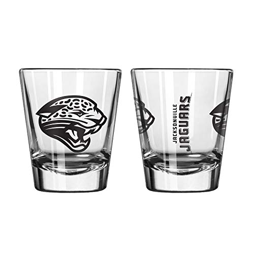 Official Fan Shop Authentic NFL Logo 2 oz Shot Glasses 2-Pack Bundle. Show Team Pride at Home, Your Bar or at The Tailgate. Gameday Shot Glasses for a Goodnight (Jacksonville Jaguars) -
