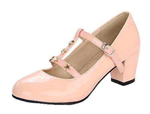 AgooLar Femme Boucle à Talon Correct Verni Brillant Rond Chaussures Légeres Rose ZIv4ZBtj