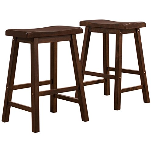 Set of 2 Dark Wood Country Style Saddle Back Solid Wood Bar Stool - Counter Height Includes ModHaus Living (TM) Pen (Dark Wood) - Saddle Style Bar Stool