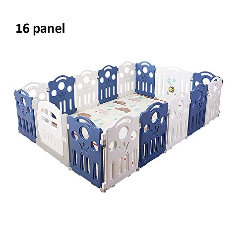 QFFL Baby Playpen, 16 Panel Kids Activity Center Safe Play Yard with Door and Game Panel - Blue (Non-Toxic and Durable) Baby Playards