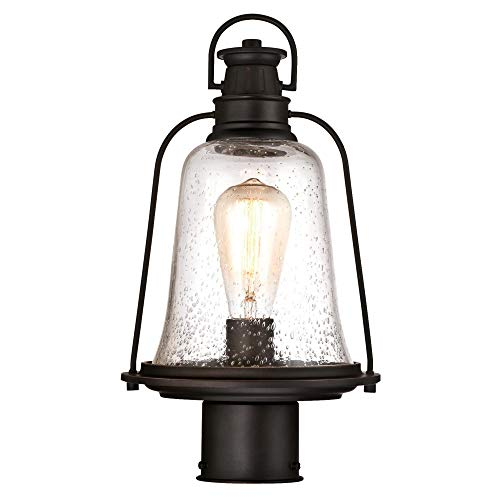 Westinghouse Lighting 6347000 Brynn One-Light Outdoor Post-Top Fixture, Oil Rubbed Bronze Finish with Highlights and Clear Seeded Glass (Renewed) (Outdoor Lamp Post Oil Rubbed)