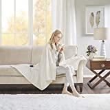 Beautyrest - Plush Heated Throw Blanket -Secure Comfort Technology-Oversized 60' x 70'- Ivory - Cozy Soft Microlight Heated Electric Blanket Throw - 3-Setting Heat Controller-5 Years Warranty