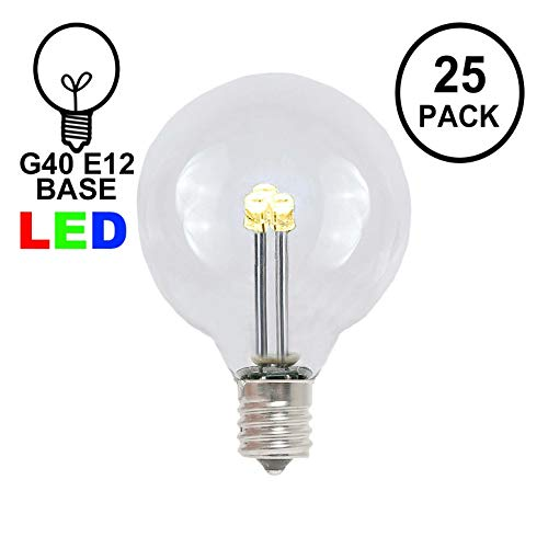 (Novelty Lights 25 Pack G40 LED Outdoor String Light Patio Globe Replacement Bulbs, Warm White, 3 LED's Per Bulb, Energy Efficient)