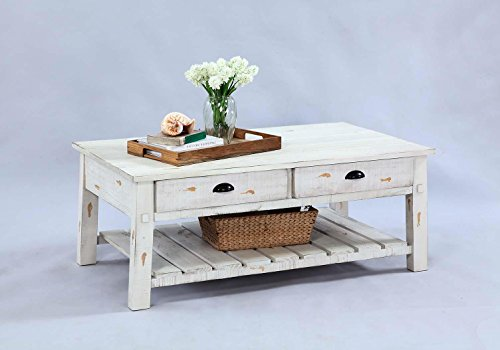 (Progressive Furniture T410-01 Willow Rectangular Cocktail Table, White)