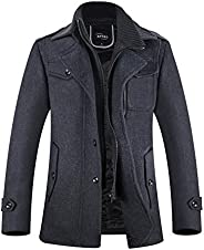 APTRO Men's Winter Slim Fit Wool Coat Single Breasted Wool Trench C