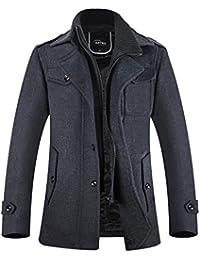 Mens Winter Coats Wool Blend Fleece Lining Pea Coat Jacket
