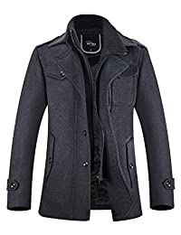 APTRO Men's Winter Slim Fit Wool Coat Single Breasted Wool Trench Coats