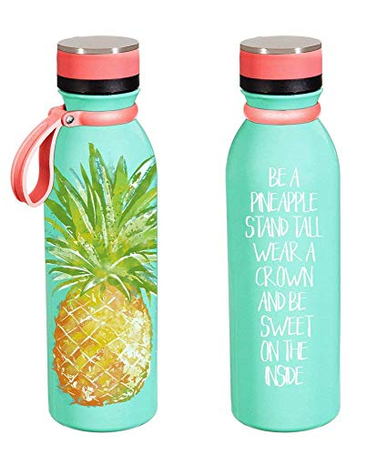 Cypress Home Stainless Steel Water Bottle, 20 Ounces (Motivational Pineapple)