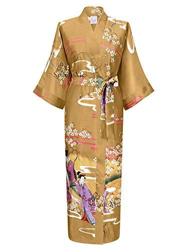Swhiteme Women's Kimono Robe, Long, One Size, Geisha, Champagne