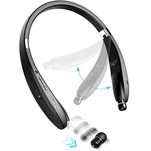 Portable Retractable Headphone - Levin Foldable Bluetooth Headset Bluetooth 4.1 Wireless Headphone Neckband with Retractable Earbuds for iPhone, Samsung Galaxy Series, Android and Other Bluetooth-Enabled Devices