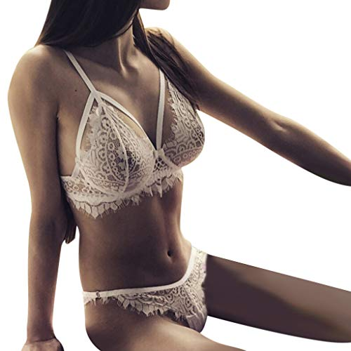 Morrivoe Women Underwear New Women's Lace Hollow Openwork Sexy Perspective Two-Piece Set ()