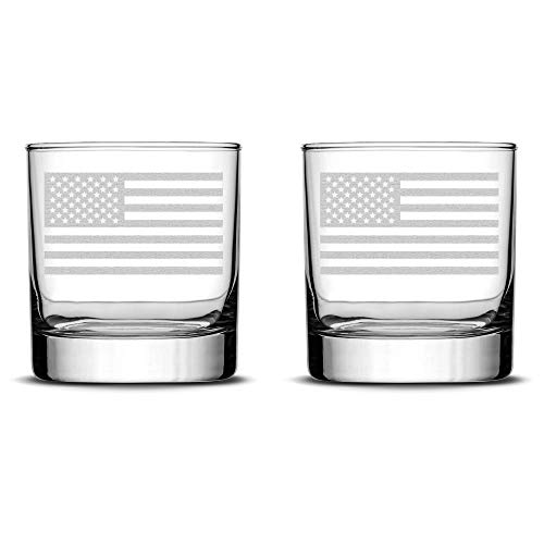 Integrity Bottles Set of 2 Premium American Flag Whiskey Glasses, Hand Etched Old Glory 10oz Rocks Glasses, Made in USA, Highball Gifts, Sand ()