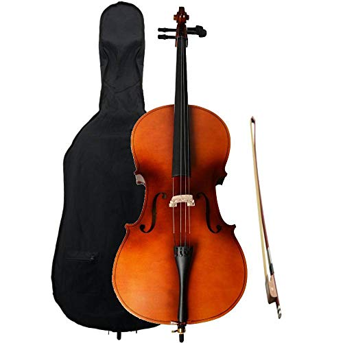 Z ZTDM 4/4 Acoustic Cello + Case + Bow + Rosin for Adults Student Beginners (Natural)