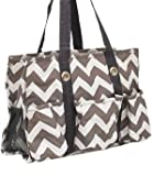 Chevron Print Quilted Tote Bag-GREY