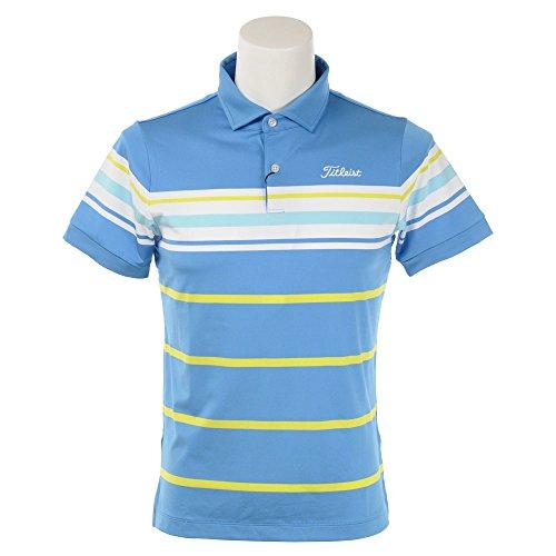 タイトリスト TITLEIST 半袖シャツ?ポロシャツ ボーダーストレッチスムース半袖ポロシャツ ブルー M