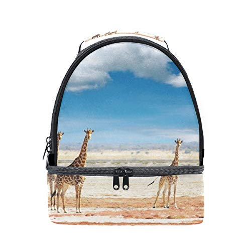 Lunch Bag Giraffes Animal Sand Cloud Womens Insulated Lunch Tote Zipper Kids Lunch Box