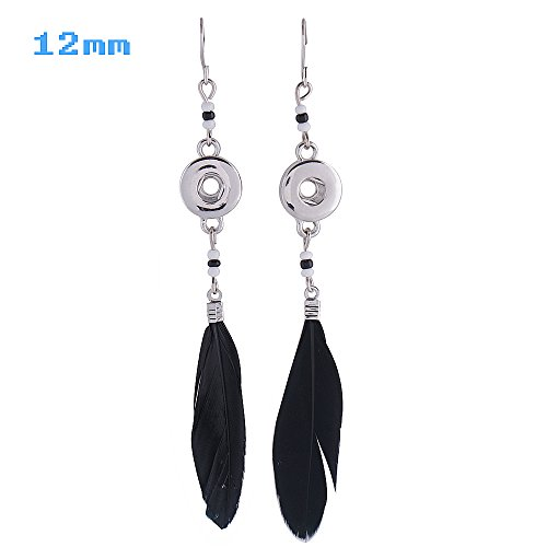 Lovmoment Mini Earrings 12MM Feather Shape Snap Jewelry Dangle Charm (Shape Dangle Charm)