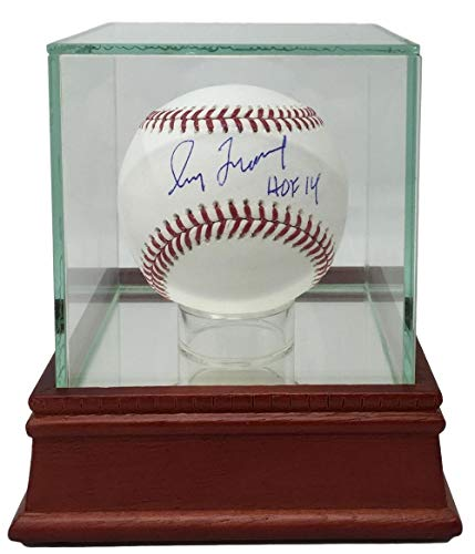 Greg Maddux Autographed Baseball - Greg Maddux Braves Signed Official MLB Baseball HOF 14 BAS w/UV Protected Glass Display Case
