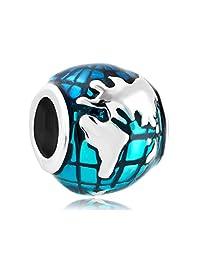 Jewelry Ocean Blue Earth World Globe Charm Sale Cheap Beads Fit Pandora Charms Bracelet Gifts