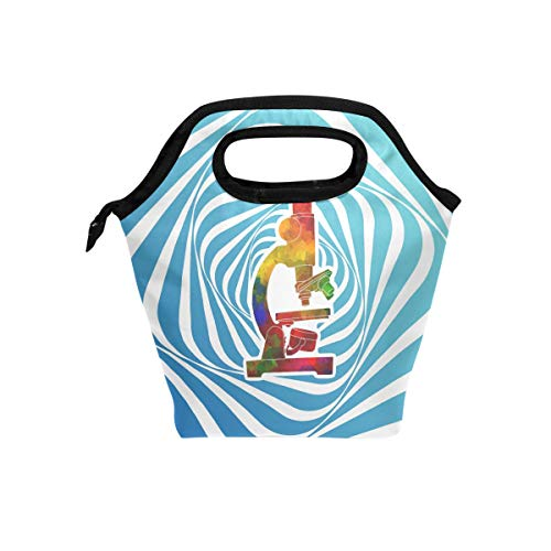 Lunch Tote Bag with Watercolor Microscope Print- Insulated Reusable Lunch Box, BaLin Thermal Colder Lunchbox for School Work Office