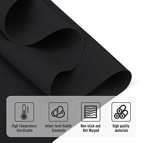 YOYI YOYI Silicone Placemats,23.6 by 15.7 Inch Large Silicone Pastry Baking Mat,Silicone Sheet for Craft,Countertop Protector No-slip Non Stick Waterproof Heat Resistant Multipurpose Mat (Black+Clear)
