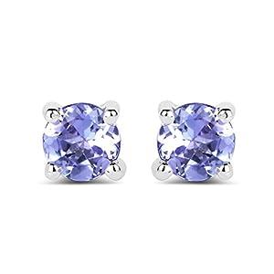 0.46 Carat Genuine Tanzanite .925 Sterling Silver Earrings